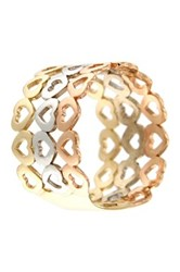 Milor Jewelry 14K Gold Tricolor Heart Triple Row Band Ring Metallic