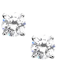 B. Brilliant Sterling Silver Earrings Cubic Zirconia Stud 2 Ct. T.W.
