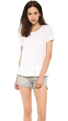Clu Too Ruffled Short Sleeve Top White White