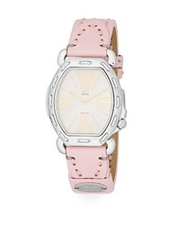 Fendi Timepieces Selleria Stainless Steel And Leather Strap Squared Oval Watch Silver Pink
