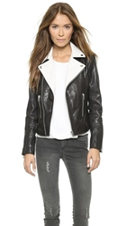 Rachel Zoe Rylan Colorblocked Leather Jacket Black White