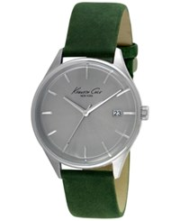 Kenneth Cole New York Men's Green Leather Strap Watch 42Mm 10029308