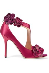 Jimmy Choo Varna Embellished Satin Sandals Purple