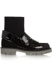 Msgm Patent Leather And Scuba Jersey Ankle Boots Black