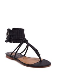 Dolce Vita Reagan Woven Leather And Suede Thong Sandals Black