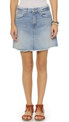 7 For All Mankind Raw Edge Miniskirt Aura Blue Heritage