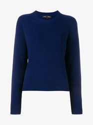 Proenza Schouler Wool And Cashmere Crew Knit With Side Ties Indigo Black Denim White