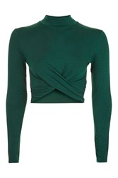 Topshop Long Sleeve Twist Front Crop Top Dark Green