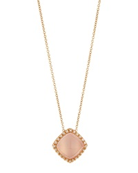 Favero 18K Yellow Gold Square Rose Quartz Pendant Necklace W Diamonds