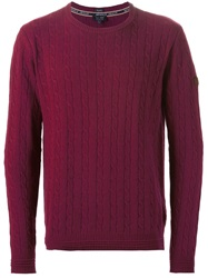 Armani Jeans Cable Knit Sweater Red