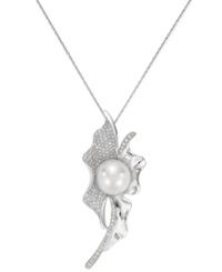 Belle De Mer 14K White Gold White South Sea Pearl 11Mm And Diamond 3 4 Ct. T.W. Pendant Necklace