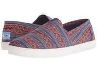Toms Avalon Slip On Blue Orange Zig Zag Men's Slip On Shoes