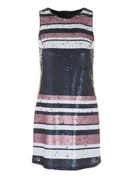 Jane Norman Mid Blue Sequin Stripe Sleeveless Dress