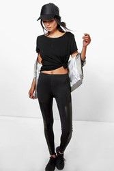 Boohoo Leather Look Side Panel Leggings Black