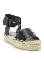 Vince Edina Croc Embossed Leather Espadrille Sandals Black