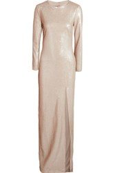 Halston Heritage Sequined Stretch Crepe Gown Beige