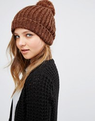Pieces Knited Pom Beanie In Copper Mustang Copper Brown Orange