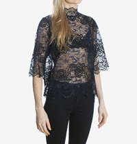 Ganni Parker Lace Blouse Total Eclipse Black Huh. Store