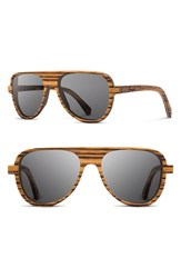 Men's Shwood 'Medford' 56Mm Polarized Wood Sunglasses Zebrawood Grey