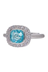Judith Ripka Sterling Silver Small Cushion Sky Blue Crystal And White Sapphire Isabella Ring Size 7