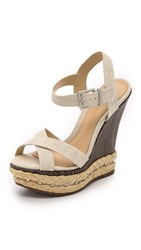 Schutz Fiore Platform Wedge Sandals Natural