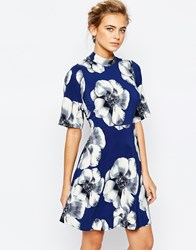 Closet A Line Mini Dress In Overscale Floral With Kimono Sleeve Navy