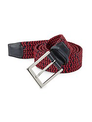 Saks Fifth Avenue Two Tone Woven Belt Navy Red