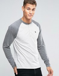 Abercrombie And Fitch Henley Long Sleeve Baseball Top With Contrast Sleeves In Grey Grey