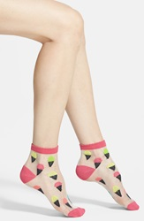 Sheer Pattern Anklet Pink Ice Cream Cone