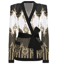 Balmain Metallic Printed Cardigan Black