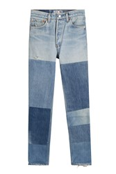 Re Done Skinny Jeans In Patchwork Finish Blue