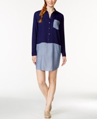 G.H. Bass And Co. Colorblocked Shirtdress Twilight