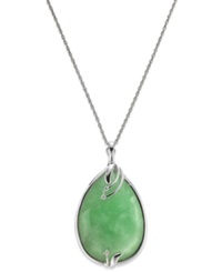 Macy's Streling Silver Jade 25X35mm And Diamond Accent Pendant Necklace
