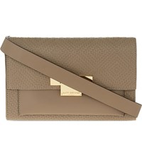 Kurt Geiger Annie Woven Leather Belted Bag Taupe