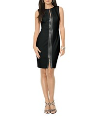 Lauren Ralph Lauren Faux Leather Trim Sheath Dress Black