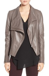 Trouve Women's Drape Front Leather Jacket Grey Nickel