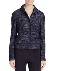 Basler Faux Leather Trim Jacket Navy Print