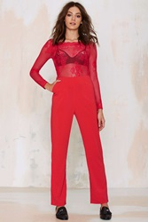 Nasty Gal Glamorous Auerlia Lace Jumpsuit Red