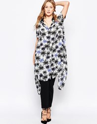 Closet Longline Shirt In Palm Print Blackblue
