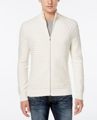 Inc International Concepts Men's Full Zip Multi Textured Sweater Only At Macy's Vintage White