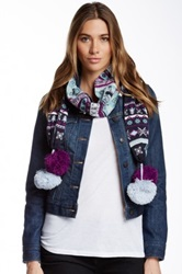 Muk Luks Large Pom Knit Scarf Blue
