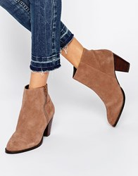 Oasis Western Zip Side Suede Boots Neutral