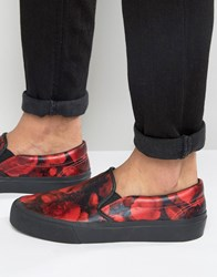 Asos Slip On Plimsolls In Red Floral Red