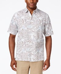 Tasso Elba Men's Big And Tall Classic Fit Print Short Sleeve Shirt Only At Macy's White Combo