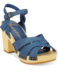 American Rag Cassidy Wooden Platform Sandals Only At Macy's Women's Shoes Denim