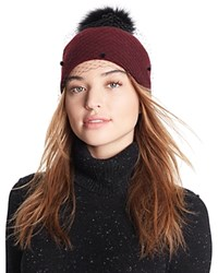 Helene Berman Knit Hat With Veil And Fox Fur Pom Pom Black