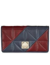 Sonia Rykiel Burgundy And Navy Leather Matelasse Wallet Blue