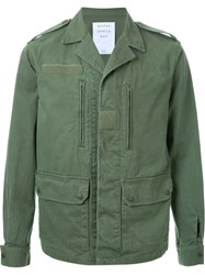 Mr. Gentleman Notched Lapel Military Jacket Green