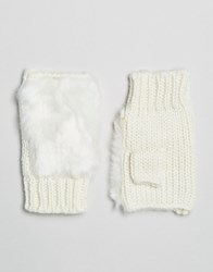 7X Faux Fur Fingerless Gloves White