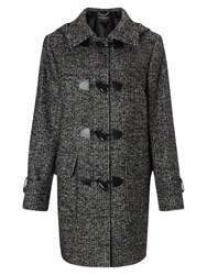Four Seasons Tweed Duffle Coat Black White